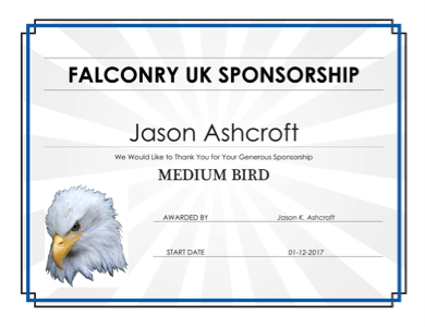 falconry uk sponsorship certificate